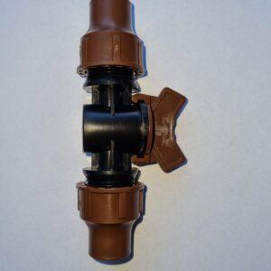 Rohrverbinder mit Überwurfverschraubung und Kugelhhn für 16mm Rohre und Tropfsysteme