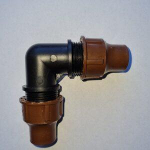 Rohrverbinder mit Überwurfverschraubung Winkel 90° für 16mm Rohre und Tropfsysteme